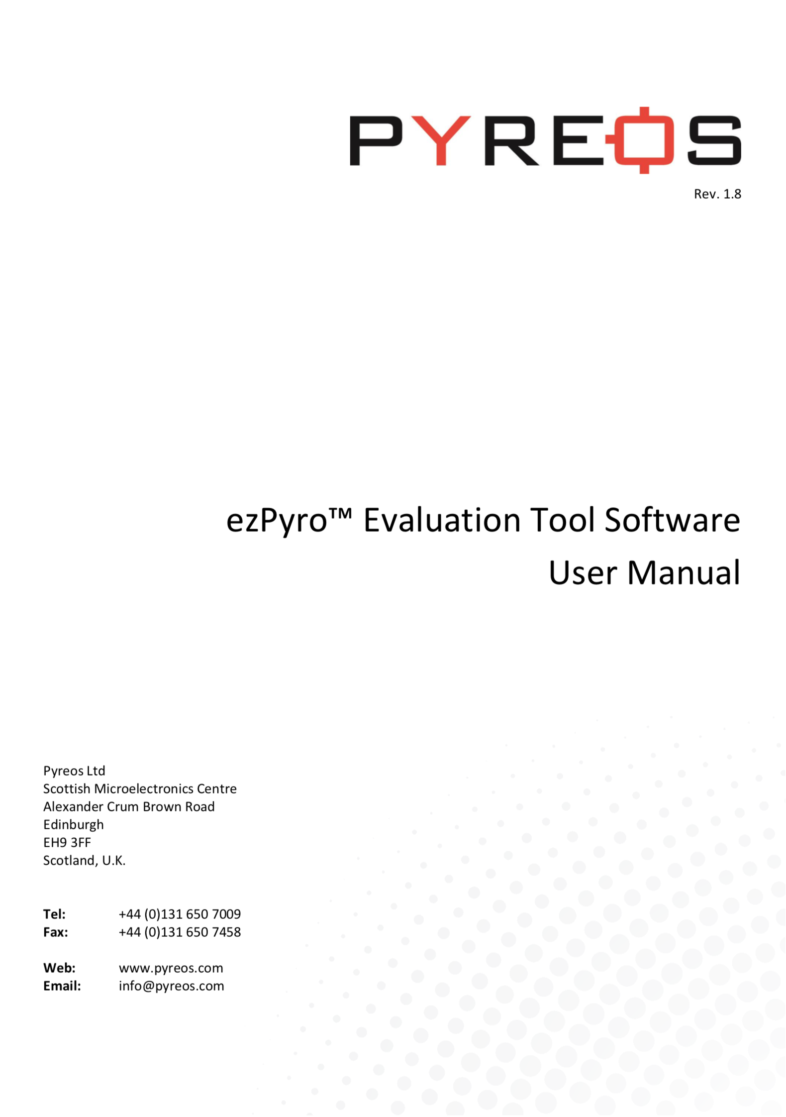 Pyreos User Manual ezPyro Evaluation Tool Software