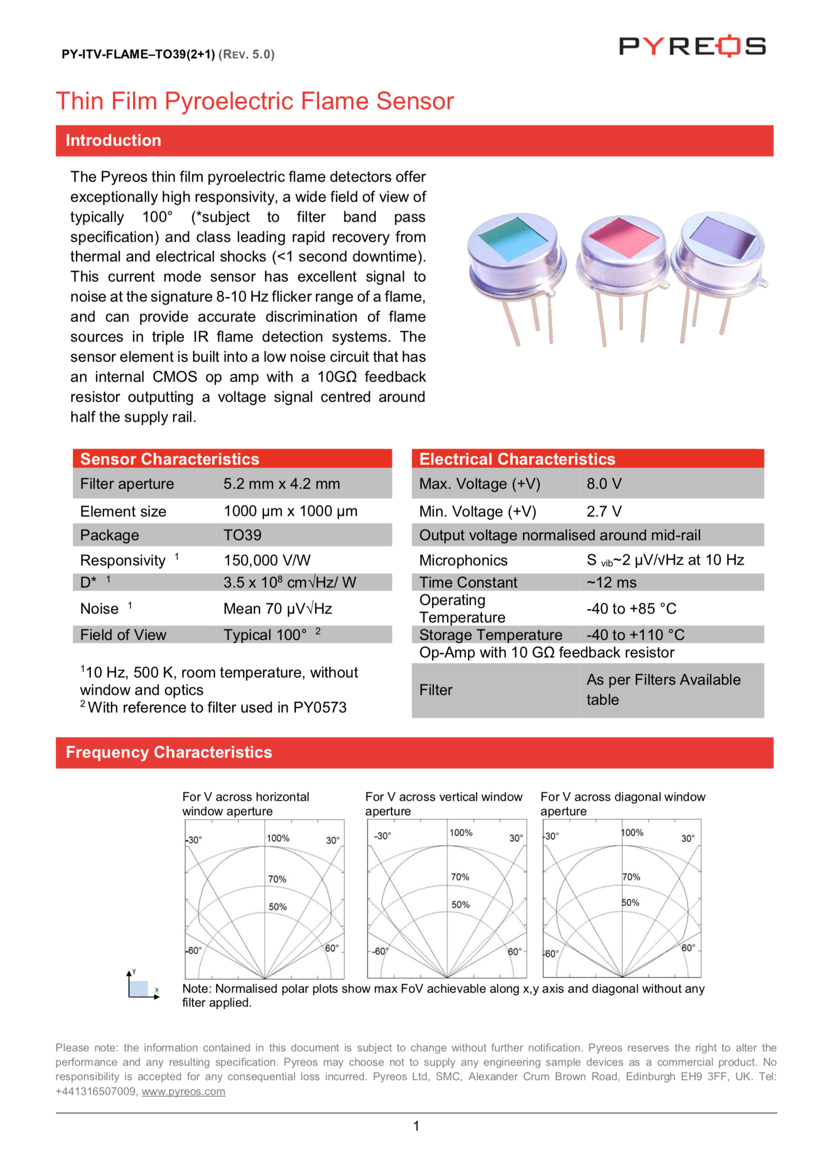 Datasheet Pyreos Analog TO Flame Sensor One Channel